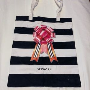 NWT Sephora Striped Canvas Holiday Tote Bag